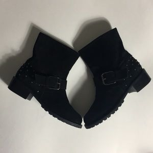 Barneys New York • Suede Moto Studded Boots